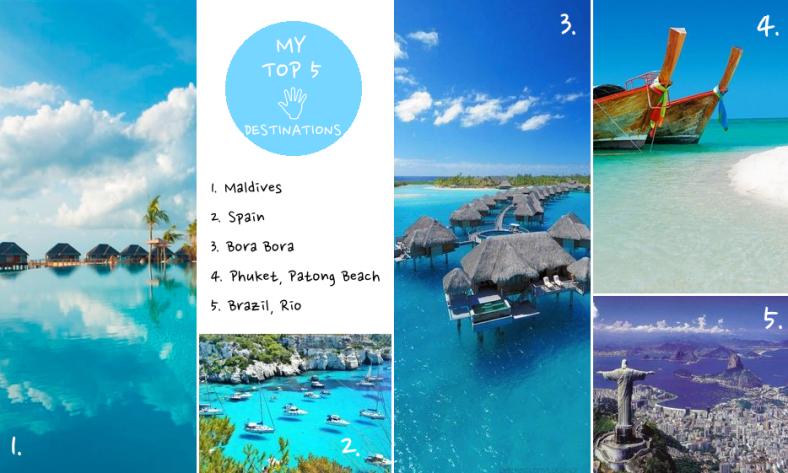 Holiday Destinations Part 1 Maldives Bora Bora Phuket Brazil Rio Spain Menorca